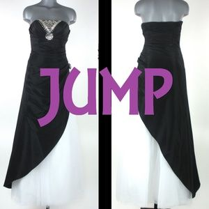 JUMP Black & White Strapless Prom Dress